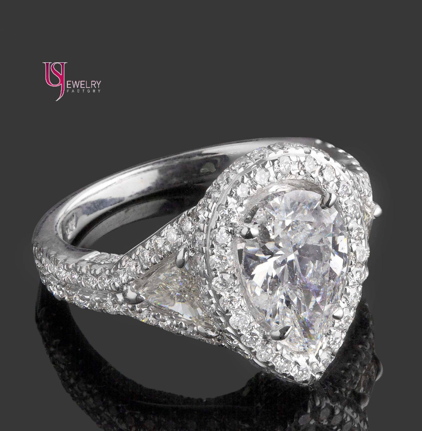3 80 Carat Pear Shaped Diamond Engagement Ring by USJewelryFactory