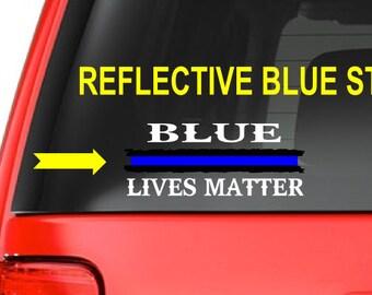 Blue Lives Matter (W26) Thin Blue Line Cop Police Vinyl Decal Sticker Car Window