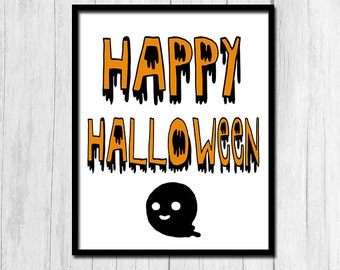 "Halloween Prints ""Happy Halloween"" printable Digital Download Halloween Posters Ghost Printables Cute Wall Decor Instant Download Prints"