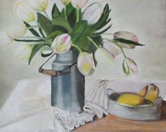Special white tulips against a white wall with pears, expressive, very much white, very hard, pears liven up the image, several layers