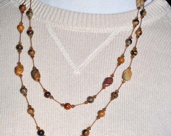 Venus Jasper Necklace, Hand Knotted Necklace, Venus Jasper Nugget Beads, Handmade Knotted Necklace, Venus Jasper Knotted Necklace