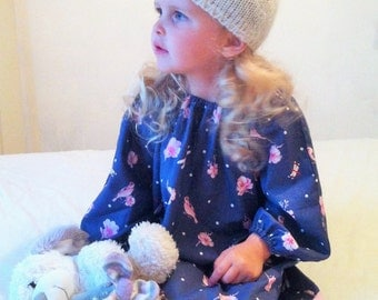 Long sleeve Dress, Girls Dresses, Kids Clothes, English, British, Birds & Dragonflies, Autumn dress, Handmade Dress