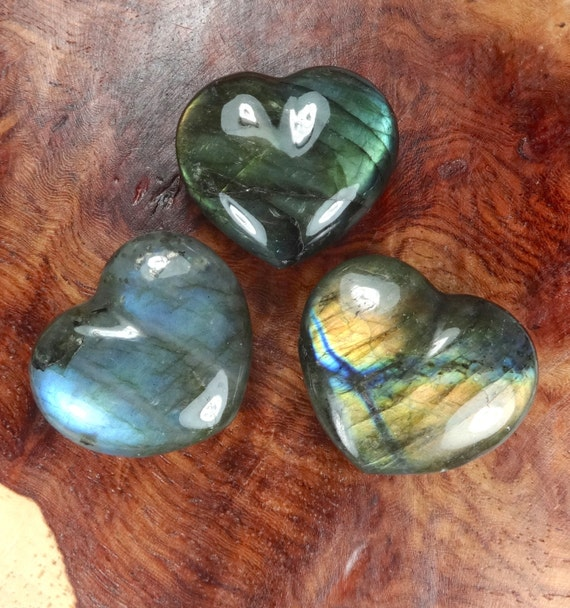 Labradorite stone carved heart tumbled by amazingcrystals