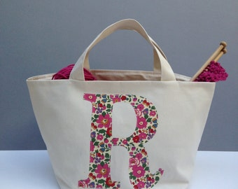 Liberty Initial Knitting Bag/Personalised Knitting Project Bag/Monogrammed Knitting gift/Knitting needle project bag/gift for mum/yarn bag