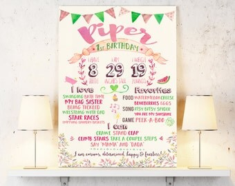 Chalkboard birthday sign for baby first birthday - Baby stats for first birthday party add-on - Personalized and printable