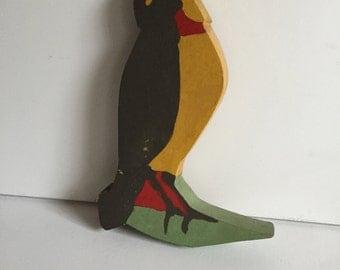 Vintage painted wood bird/ Painted Folk Art/ Vintage Folk Art/Folk Art Bird