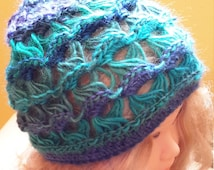Womens crocheted Hat hat, blue and purple hat, tuque winter, woman's fashion, point broomstick lace