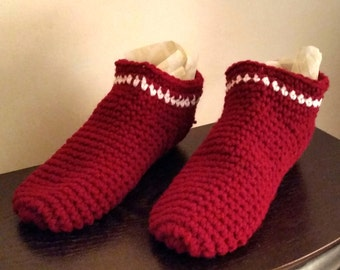 Crocheted Red Slippers