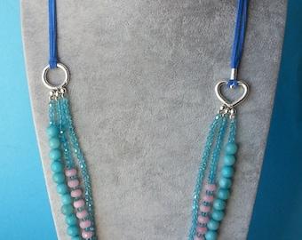 Leather necklace, Multi strand necklace,Jade necklace,Gemstone necklace,Pink necklace, Blue necklace,Aqua blue necklace,Facted bead necklace