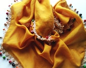Authentic scarf,  Boho scarf,Mustard Cotton scarf, pure cotton, Wooden beads and lace handlwork scarf
