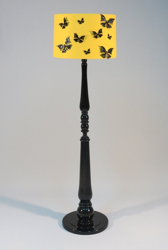 Handmade floor lampstylish wooden stand painted in by for Wooden floor lamp etsy
