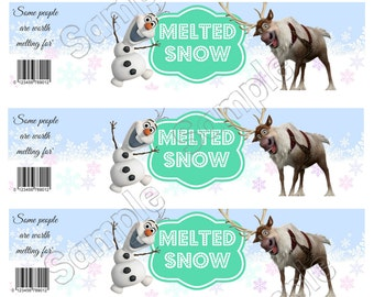 Frozen Party Water Bottle Labels - Instant Download