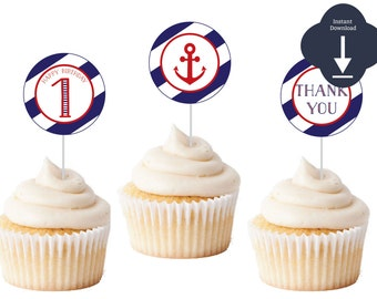 Nautical Cupcake Toppers or Gift Tags - Red & Navy Sailing Birthday (Preppy 2' Favor Tags, Thank You Tags, Nautical Birthday, Party, Shower)