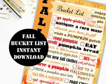 Fall Bucket List Printable Digital Download // Erin Condren Printable / Plum Paper Printable / Planner Insert Digital Download 00101