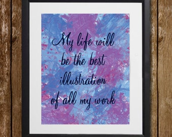 My Life Will Be the Best Illustration Hans Christian Andersen Wall Art - Illustration Print - Inspirational Quote - Wall Decor - Paint Print