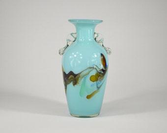 OPALINE FLORENCE Italy vase or light blue glass vase
