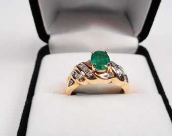 Emerald Ring.  14kt. Gold Ring  with Natural Emerald & Diamond Accents with an Appraisal.
