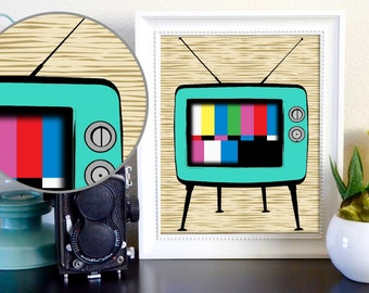 Vintage Retro TV Home Decor Print Digital Download