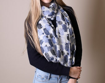 Women's Cute Blue Baa Sheep Natural Soft Wool Scarf. Evening Shawl. Shoulder Wrap. Unique Gift Ideas