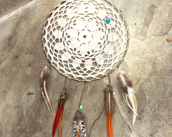 Vintage Crocheted Dream Catcher with Feathers Hand Made