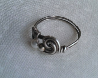 sterling silver ring , swarovski pearl ring , wire wrapped ring , handmade ring , handmade jewelry
