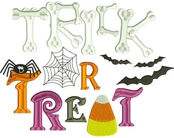 Trick or Treat Halloween Embroidery Design Download Stitch Design - 0166