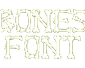 Bones Halloween Font Alphabet Applique Embroidery Design Instant Download - 0167