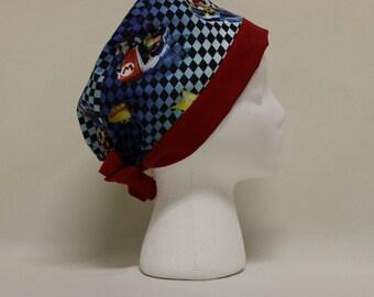Mario Kart Arcade Blue Surgical Scrub Cap Chemo Dental Hat