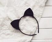 Black silk cat ears, Cat ears, Cat Headband, Ariana Grande, Kitten ear, Kitty ear, Ear Headband, Bachelorette, Costume ear, Party ears