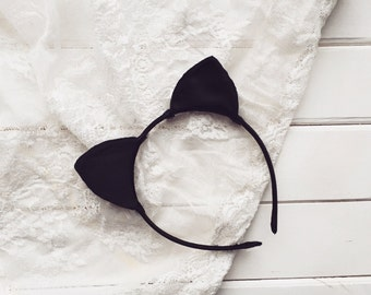 Black silk cat ears, Cat ears, Cat Headband, Ariana Grande, Kitten ear, Kitty ear, Ear Headband, Bachelorette, Costume ear, Party ears