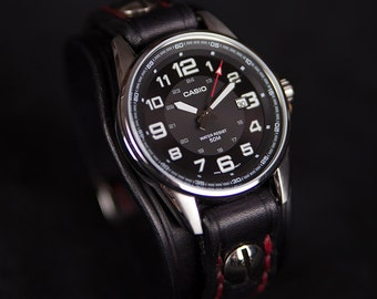 Leather cuff watch black leather watch handmade by Bandit