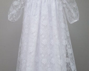 Baby Christening Gown, Christening Dress, Baptism Dress, Baptism Gown. White Satin and Lace Gown, Blessing Gown . 6 months from JQDresses