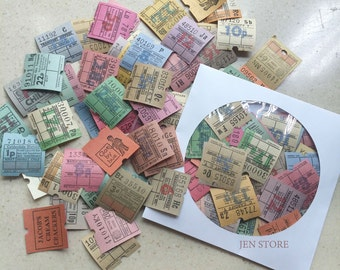 Assorted Vintage Old British UK Ultimate Bus Tickets Machine Tickets - Collage and Mixed Media, Vintage Paper Ephemera