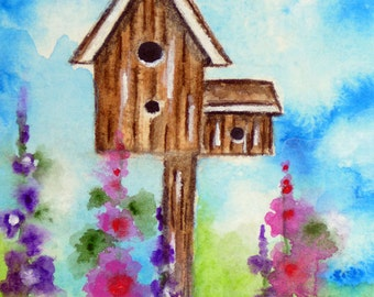 ACEO Garden Birdhouse Print, ACEO Matted Watercolor Print, ACEO Cards, Artist Trading Cards, Miniature Collectible Art, Nature Illustration