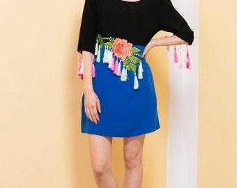 Blue Black Dress, Tassel, Fringe Dress, Floral Embroidery, Flower Dress, Unique Dress, Short Dress, Loose Fit Dress, Colourful Dress