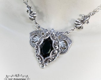 Silver victorian gothic flourish necklace-victorian gothic jewelry