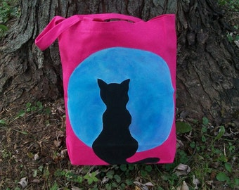 Cat on Moon Halloween Trick or Treat Bag/Tote Hand Painted