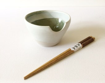 Handmade stoneware soup bowl with Japanese chestnut wood chopsticks. Ceramic #EarthandClays