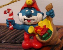 1981 Pa Pa Smurf Christmas Tree Ornament by Peyo - Made in Portugal vintage collectibles Santa Claus Ho Ho Ho