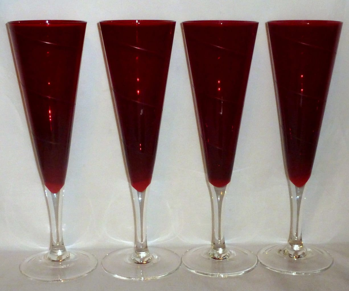 4 Vtg Dark Ruby Red Hand Blown Crystal Champagne Glasses