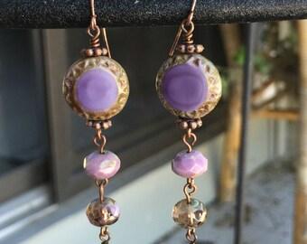 Amethyst Czech Glass Earrings - Vintage Style Dangle Earrings - Purple Czech Glass Statement Earrings - Czech Glass Jewelry