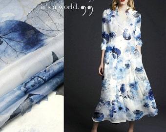 Elegant Flower Silk Chiffon Fabric By The Yard Flroal Printed Fabric Women Dress Fabric Clothing Fabric Skirt Fabric Gown Fabric-LUOYE