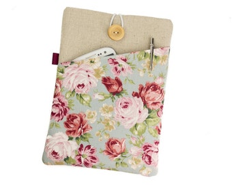 """Floral tablet case, 8"""" tablet cover, Nexus sleeve, Galaxy Tab cover, 10"""" tablet case, Lenovo Yoga 2, HP Stream sleeve, Galaxy Note 8, Floral"""