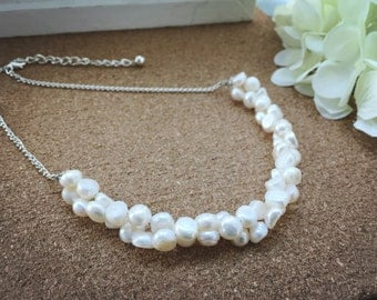 Bridal Jewelry, Twist White Ivory Fresh Water Pearl Silver Plated Statement Necklace, Nickel Free, Hypo Allergenic