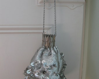 1960s Silver Sequin Pouch Bag