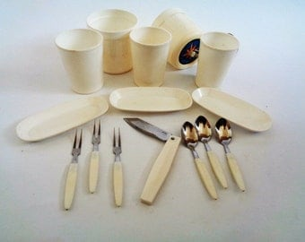 Vintage Plastic Picnic Set, Camping Set, Outdoor Entertaining/Dining, Caravanning