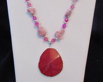Pink Chunk Necklace Set
