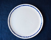 White & Indigo Dot Ceramic Dinner Plate by Barombi Studios