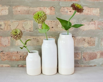 Modern Matte White & Ivory Ceramic Bottle Vases by Barombi Studios