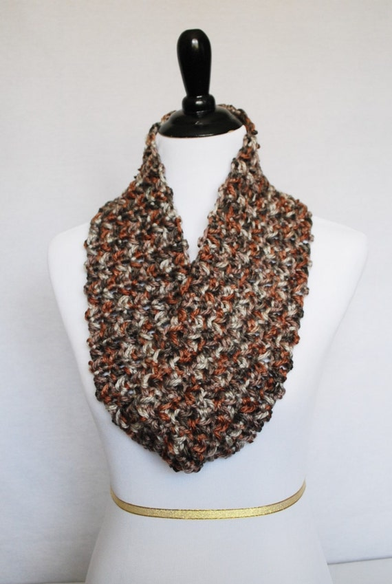 Brown and Tan Crochet Cowl, Shoulder Wrap, Draped Neck Warmer, Short Infinity Scarf - Beige, Neutral